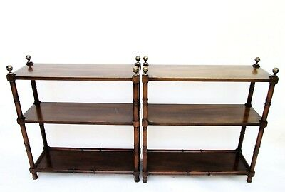 Pair of Three Tiered Solid Wood Library Etagere's Bookcases with Brass Finials