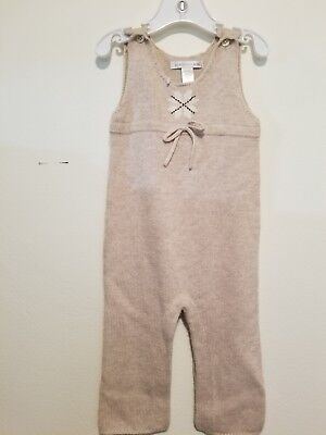 NWT Pottery Barn Kids 3-6month Oatmeal Cozy Sweater Knit Overalls