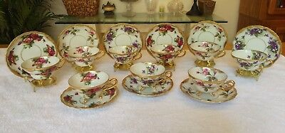 Royal Sealy 3 Footed Teacups & Saucers Bone China Lot Of 9 Gold Moriage Japan