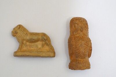 1920's Cracker Jack Earthenware Lion and Owl figures toy prizes