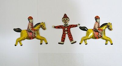 Vintage cracker jack tin litho clown and cowboy w/horse lot of 3 toy prizes