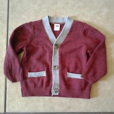 Old Navy Boys 12-18 Months Burgundy Gray Button Cardigan Sweater
