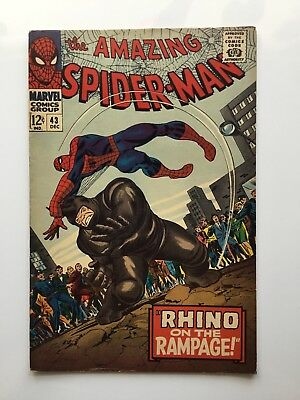 Amazing Spider-man # 43 marvel 1966 silver age comic book Rhino on the Rampage!
