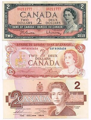 Lot Of Three 1954-86 Canada Two Dollars Notes