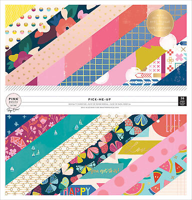 """Pink Paislee Single-Sided Paper Pad 12""""X12"""" 36/Pkg-Paige Evans Pick Me Up W/Gold"""