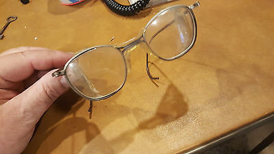 Vtg motorcycle safety glasses antique goggles WWII Steampunk Matsuda WIRE MESH