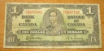 1937 Bank of Canada Gordon - Towers $1 One Dollar Note