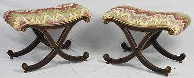 Pair of Regency Style X Base Benches with Flame Stitched Fabric