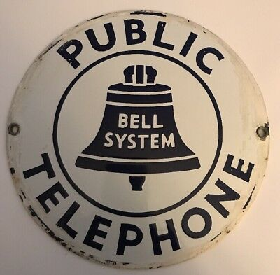 ORIGINAL 1940's ? VINTAGE  PORCELAIN SIGN---BELL PUBLIC TELEPHONE SIGN