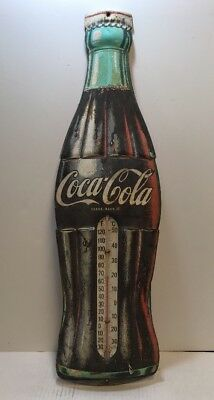 Vintage 29 Inch Coca-Cola Bottle Thermometer Metal Sign
