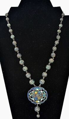 1930's Chinese Sterling Silver Enamel Filigree Bead Necklace Medallion Pendant