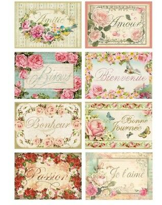 Stamperia Decoupage Rice Paper Tags with Words