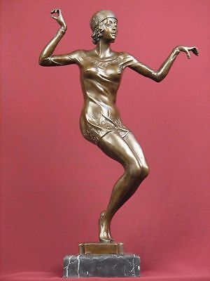 Signed Bronze Sculpture Art Deco Dancer  Highly Detailed  Statue On Marble Base