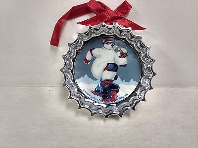 Coca Cola Trim-A-Tree Ornament Collectors Bottle Top Polar Bear Skating    ch147