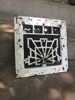 Vintage antique Art Deco cast iron heat grate architectural decor shabby chic