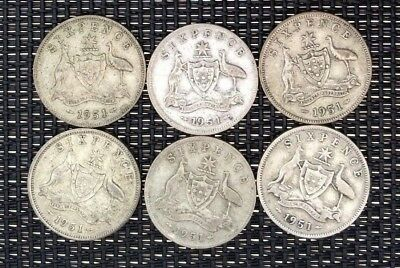 1951 6d sixpence x 6 (no PL - Melmourne coin) **64