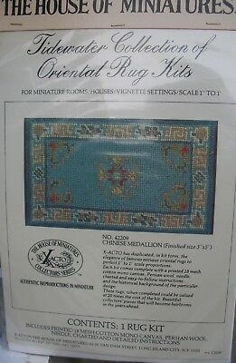 Vintage House of Miniatures Chinese Medallion Oriental Rug Kit 3 x 5 Dollhouse