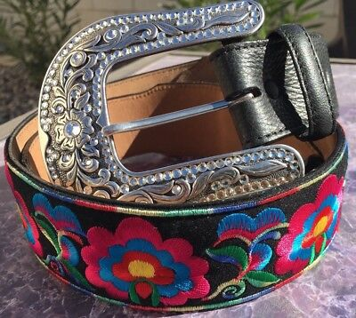 "NWT Justin Leather Belt Sz 30"", 31"" Western Rosa Bonita Floral Hot Pink Black"