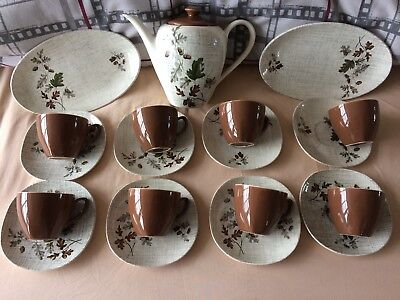 J & G MEAKIN SOL COFFEE TEA SET 50's AUTUMN ACORNS LEAVES RETRO VINTAGE STUNNING