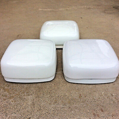 LOT x3 ROUNDED SQUARE WHITE GLASS OYSTER SHADES + Ceiling Fixture 20cm x 20cm