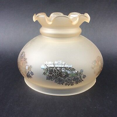 FROSTED AMBER ETCHED GLASS KERO ELECTRIC BELL SHADE Floral Ruffled Top 15cm Ring