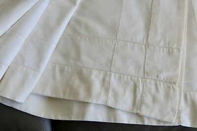"""VINTAGE CREAM LINEN TABLECLOTH, HEMSTITCHED SEAMS, LARGE RECTANGLE 90"""" x 82"""""""