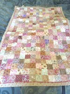 Antique Hand Sewn Babies Quilted Patchwork Cot Quilt , Hardham Patch