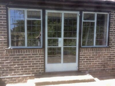 crittall windows, 2 x metal side windows with leaded lightsbbn