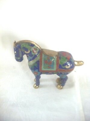 UNUSUAL AND INTERESTING VINTAGE BRASS AND ENAMEL CLOISONNÉ HORSE 10 cm tall