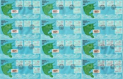 """Hong Kong 12x FDC 1986 """"ATM / MACHINE LABELS"""" VF with some different colours #L1"""