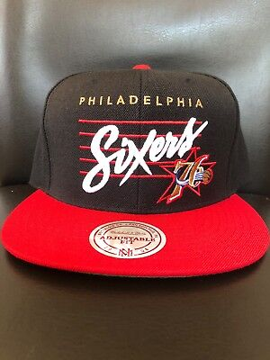 Philadelphia 76ers NBA Mitchell and Ness Sixers Logo Snapback Cap - One Size