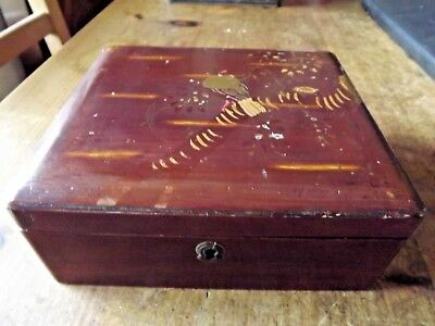 Vintage Japanese Hand Painted Red Lacquer Antique Box