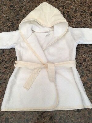 Carter's Baby Bath Robe 0 To 9 Months To 21 LBS. White With Yellow Unisex Hooded
