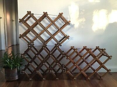 Vintage Retro Folding Collapsable Wooden Wine Rack x 3