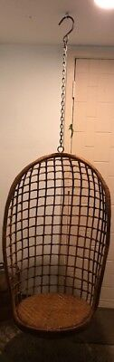 Rattan Wicker Mid Century MCM Modern Egg Swing Hanging Chair -PICKUP ONLY