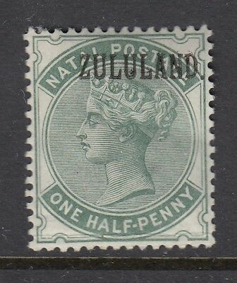 ZULULAND POSTAGE STAMP SG12 1/2D DULL GREEN Mounted mint WITH DOT