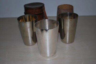 Leather Cased Silver Plated Stirrup Cups James Dixon & Sons Sheffield