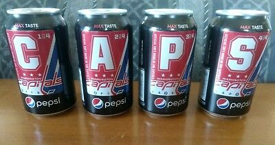 WASHINGTON CAPITALS Set of 4 Limited Edition Pepsi Zero cans  Ovechkin Holtby