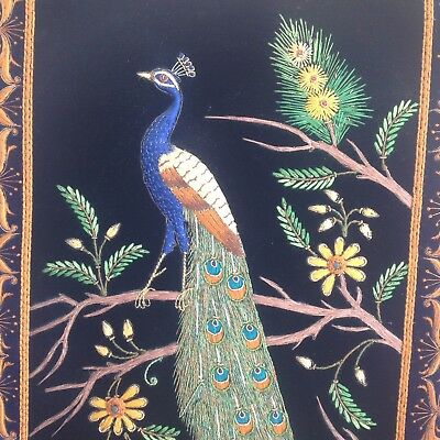 Embroidered INDIAN PEACOCK SILK PANEL AGRA BY SHAMS UDDIN