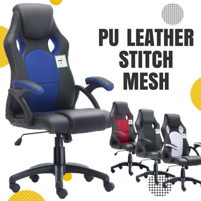 Racing Office Chair Home Gaming Executive Sports Computer Swivel Mesh Fx Leather