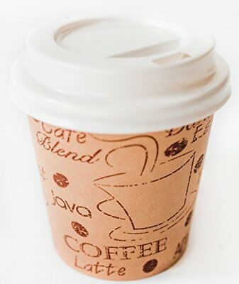 Disposable Espresso Cups with Lids - 4 Ounce Cafe Paper Coffee Cup with Lid -