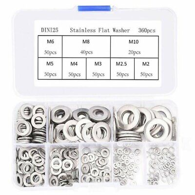 360Pcs Stainless steel Flat Washers Sealing Ring Washers Assortment Set 8 Size