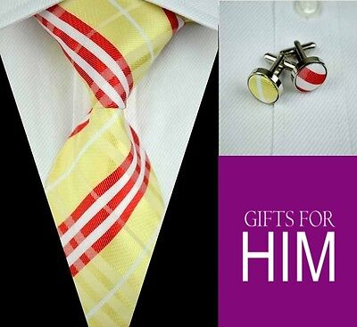 Mens Unboxed Classic Yellow Red White Stripe Silk Tie With Cufflinks GIFT SET