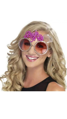 Bachelorette Hens Night Party Bride To Be Glasses Pink Bling Bling Diamontes