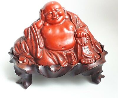 Antique Chinese Red Lacquer Buddha Hotei On Stand