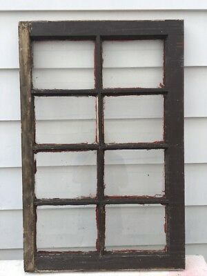 Vintage Window sash old 8 pane  Arts & Crafts Shabby Wedding 36 1/2 X 23 1/2