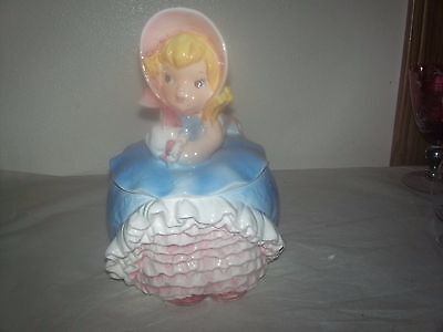 RARE VINTAGE 1950s LEFTON ANTHROPOMORPHIC BLOOMER GIRL LADY COOKIE JAR CANISTER