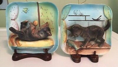 Set Of 2 Vintage NAPCO 3-D Cat Wall Plaques Blue British & Tortoiseshell 1960s