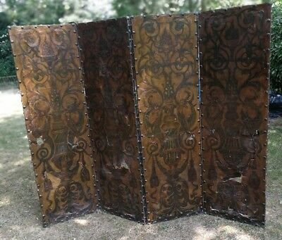 An original 18th century Dutch leather screen for restoration
