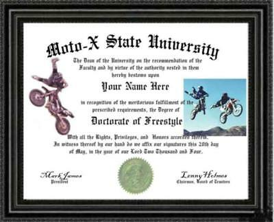 Free Style MotoX Lover's Doctorate Diploma / Degree Custom made & Designed for U